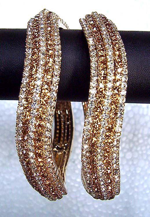 Indian Gold Bangles - Pearl and Nagg beaded 4