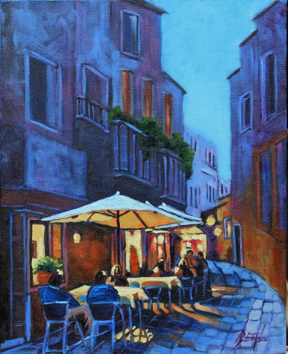 Nightscape Cafe Art Original Oil Landscape Painting by rbealart, $299.00