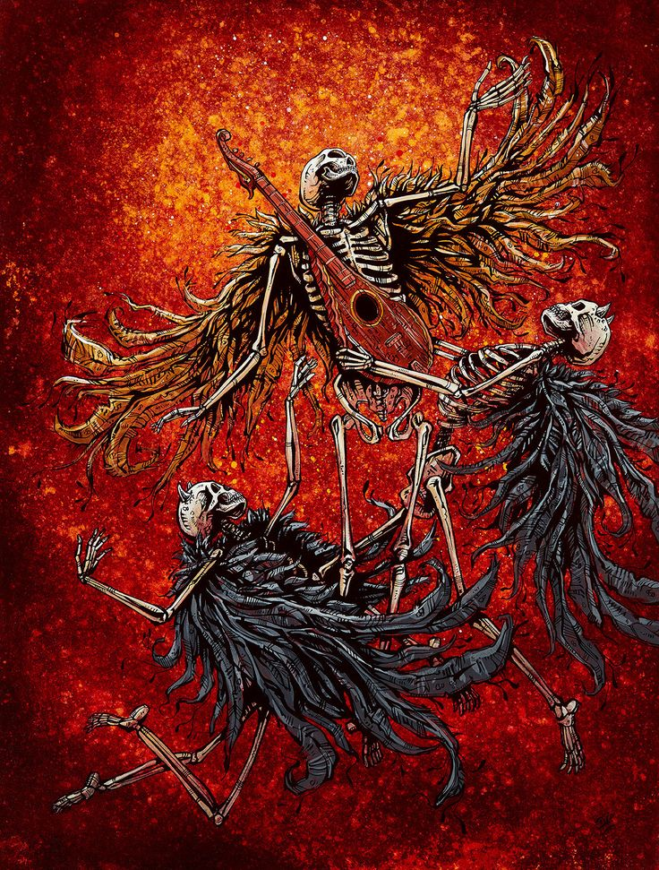 A skeleton musician begins his ascent out of purgatory while two skeleton devils attempt to silence his song and resign him to hell. Paper Prints The 8 x 10 and 12 x 18 Ascension prints are produced w