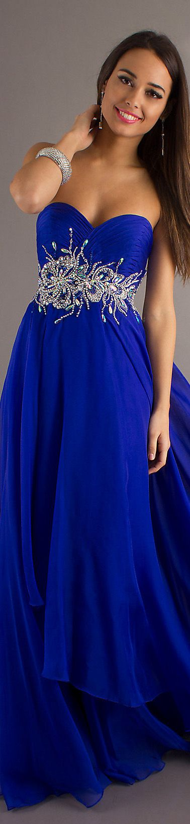 w/o glitter, just plain blue...  Formal long dress #strapless