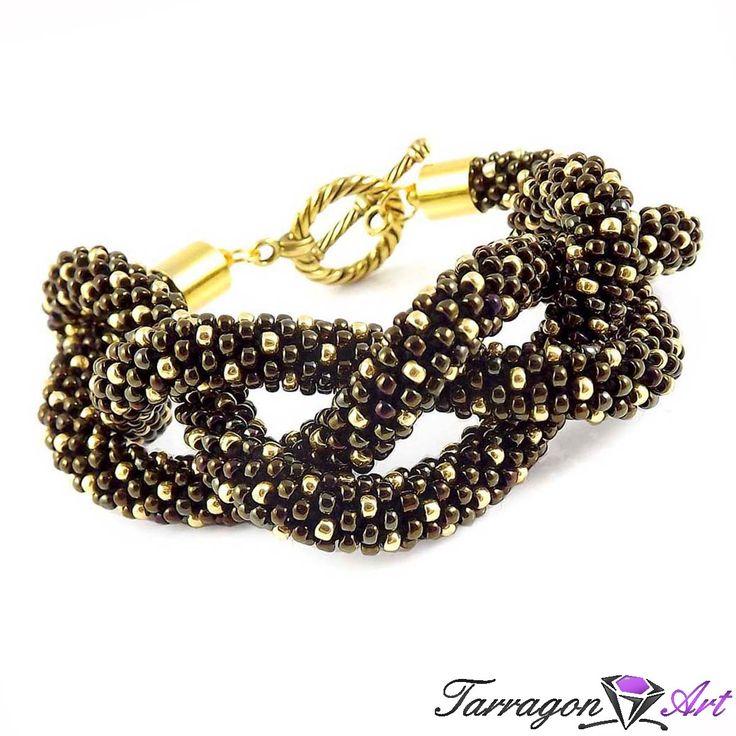 Bransoletka szydełkowo koralikowa Seed Beads - Iris Brown & Antique Bronze - Seed Beads / Bransoletki - Tarragon Art - stylowa biżuteria art...