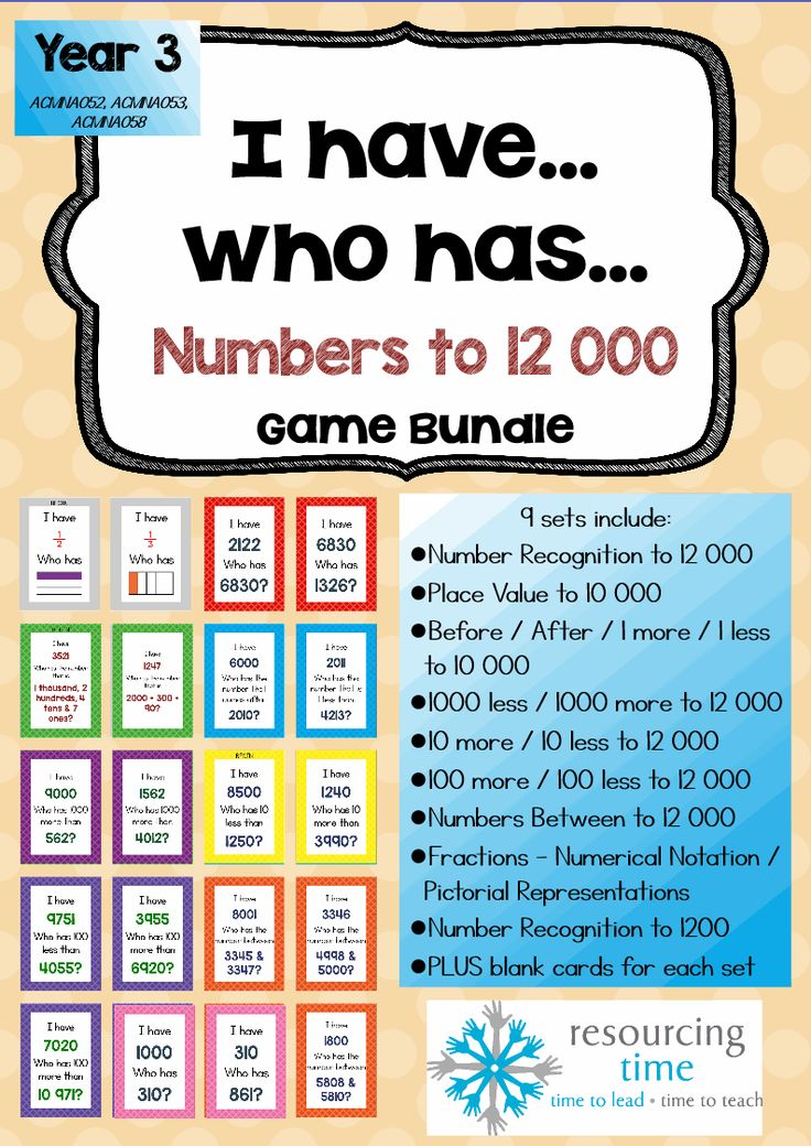 I Have Who Has Game Bundle Numbers to 12 000 plus fractions. 9 sets!