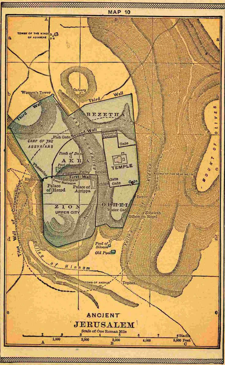 note the use of line direction to show shape of the land - - - Ancient Jerusalem Map