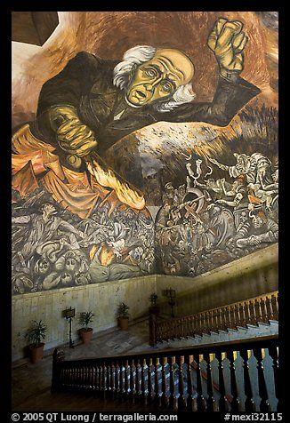 Stairway vault with portrait of  Miguel Hidalgo by Jose Clemente Orozco in the Palacio del Gobernio, Guadalajara, Jalisco, Mexico