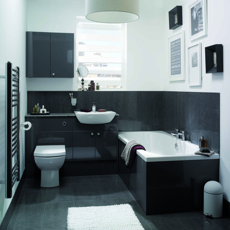 adriatic graphite gloss with fusion oceana worktops dante ceramics and matching graphite cabinets and bath panels