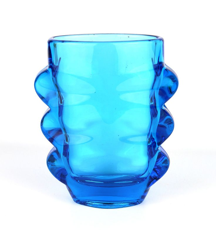 Rosice Blue Pressed Glass Sklo Union Vase, Shape 1272