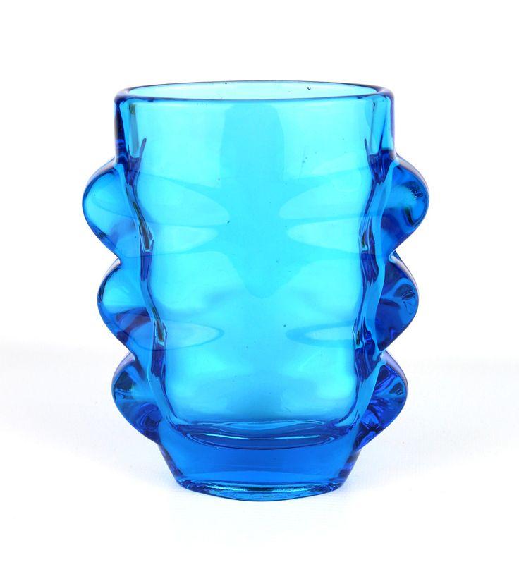 Rosice Blue Pressed Glass Sklo Union Vase, Shape 1272