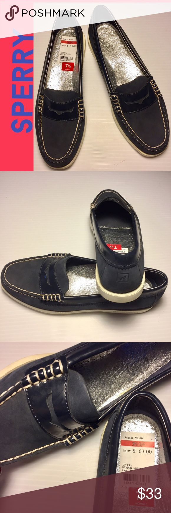 """SPERRY Top-Sider NWT Navy Blue Penny Loafer 7.5 SPERRY Top-Sider NWT New with Tags Navy Blue Penny Loafers """"Hayden Nubuck"""". Casual slip-on. Leather uppers. Non-Marking outsoles, excellent traction. Silver leather insoles. EVA heel cup for comfort & shock absorption. Original retail $90, sale price was $63.  Tried on but not worn, perfect condition, brand new! Size 7.5. (#236) Sperry Top-Sider Shoes Flats & Loafers"""