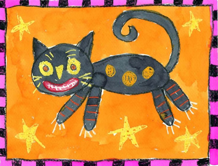 Art Projects for Kids: Folk Art Halloween Cat Painting