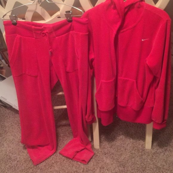 Nike Jogging Suit Red Volour   Pants are med and jacket Large Nike Other