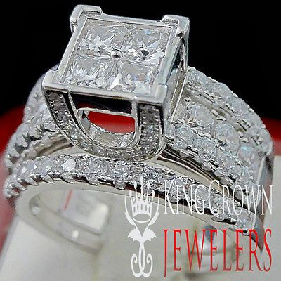 details about new ladies 10k white gold sterling silver 2 piece bridal wedding ring band set - Ebay Wedding Rings