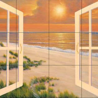 The Tile Mural Store (USA) - Tile Mural - Dr-Window Of Dreams - Kitchen Backsplash Ideas - This beautiful artwork by Diane Romanello has been digitally reproduced for tiles and depicts a windowbox with an ocean background. Beach scene tile murals are great as part of your kitchen backsplash tile project or your tub and shower surround bathroom tile project. Waterview images on tiles such as tiles with beach scenes and sunset scenes on tiles. Tropical tile scenes add a unique element to your…