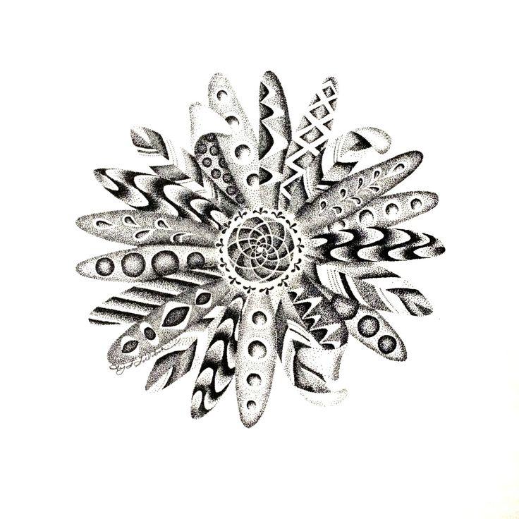 POINTILLISM daisy print by StudioAmyLynn on Etsy https://www.etsy.com/listing/262685964/pointillism-daisy-print
