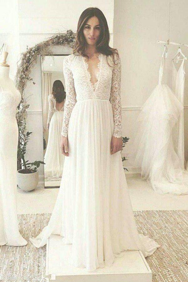 Abiti da sposa lunghi formali a maniche lunghe con scollo a V a prezzi convenien…