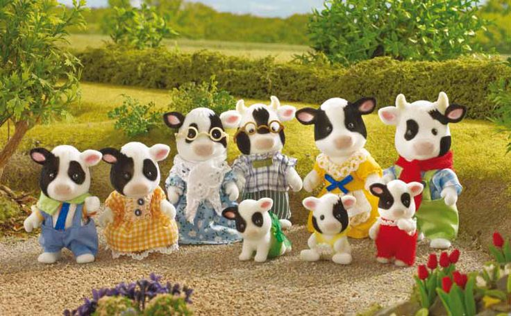 Meet the BUTTERCUP Friesian Cow Family! They love the outdoors. You can find out all about them on our website here: http://www.sylvanianstorekeepers.com/buttercup-cow-family