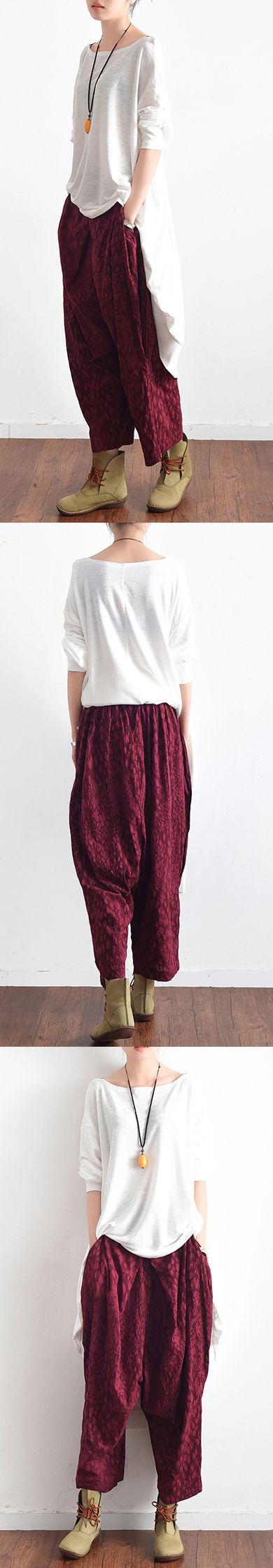 red asymmetric cotton harem pants oversize vintage pants