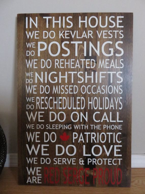 RCMP In This House Painted Wood Sign from Home Love Designs on Etsy