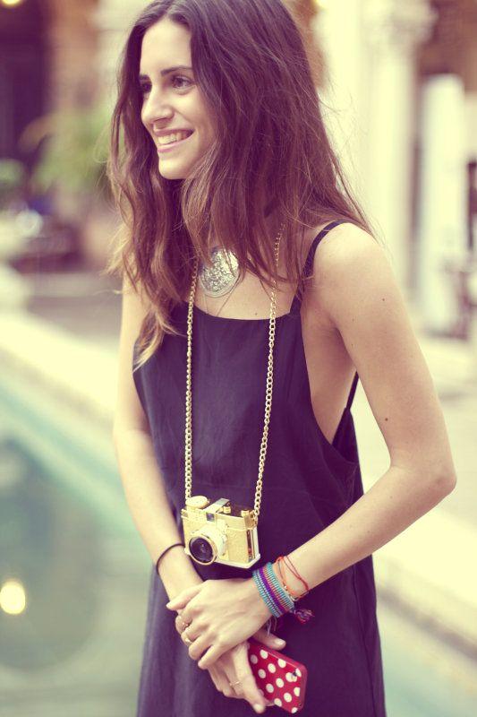 Gala: Camera Pendants, Camera Necklaces, Vintage Camera, Amlul Closet, Am Lul Closet, Gold Camera, Bold Style, Gala Gonzalez, Gala Gonzales
