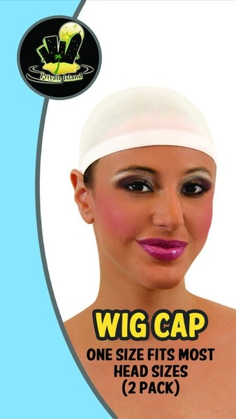 Private Island Party  - White Wig Cap 217, $0.65 - $1.99    Wig caps will tame unruly hair so you can complete your costume without worrying about telltale stray locks. This sheer white cap stretches over your own hair to keep it in place, and wigs fit right over it!