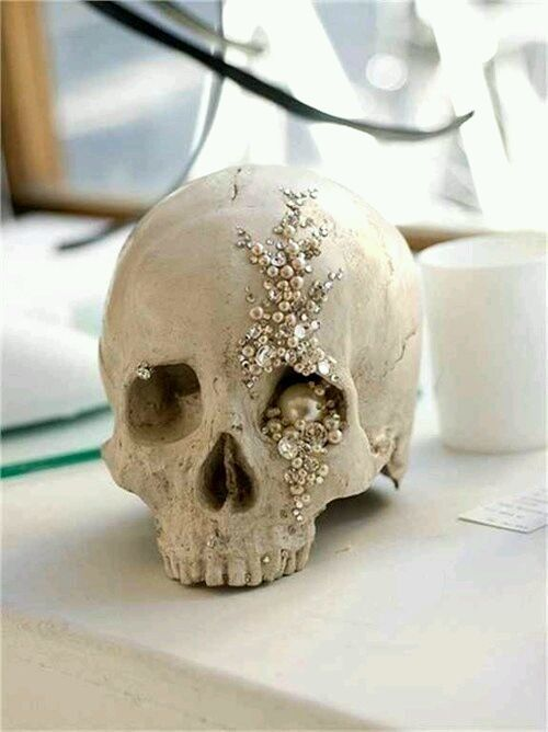 Skull jeweled centerpiece for your classy Halloween wedding!
