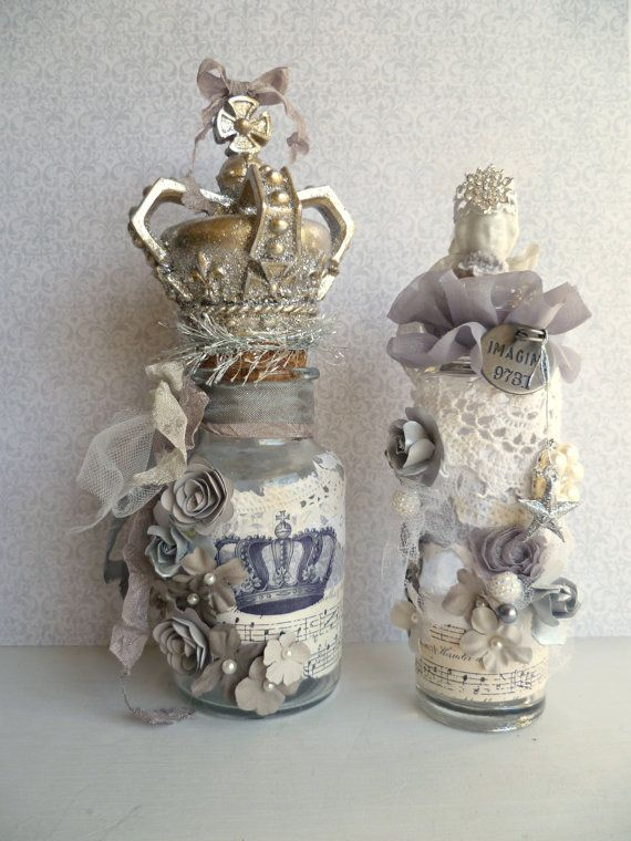 French Inspired Altered Bottle Collection. by ProvencalMarket