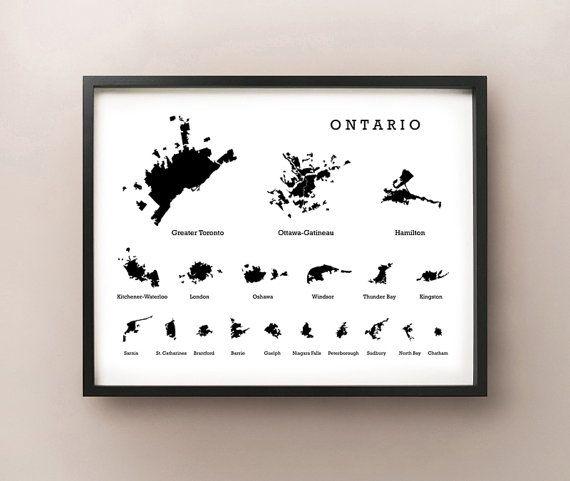 Ontario Cities Silhouette Map Print