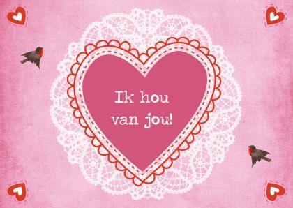 ♥Kaartje2go - Valentijnskaarten - Vintage Valentijnskaart Hart