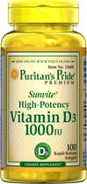 Sunvite™ High Potency Vitamin D (D-3) 1000 IU  100 Softgels 1000 5.99  DR OZ 1000/day
