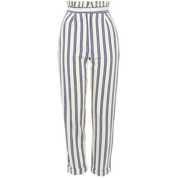 TopShop Stripe Ruffle Peg Trousers found on Polyvore featuring pants, bottoms, trousers, jeans, topshop, blue, topshop trousers, ruffle pants, blue pants and striped pants