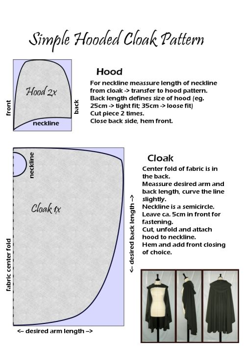 Simple Hooded Cloak Pattern Difficulty level: Beginners Required skills: basic stuff like 'how to use a measuring tape', 'how to use pins', 'how to cut fabric', 'how to not accidentally stitch through your own fingers when using a sewing machine', More very useful posts on this blog.