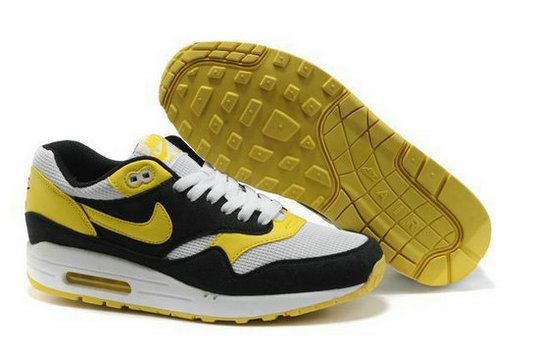 Men's Nike Air Max 1 White Black Yellow UK G8wE52