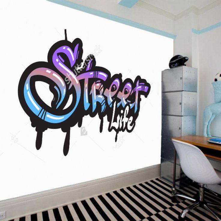 Fotobehang Graffiti street life | Maak het jezelf eenvoudig en bestel fotobehang voorzien van een lijmlaag bij YouPri om zo gemakkelijk jouw woonruimte een nieuwe stijl te geven. Voor het behangen heb je alleen water nodig!   #behang #fotobehang #print #opdruk #afbeelding #diy #behangen #graffiti #engels #woord #woorden #kunst #art