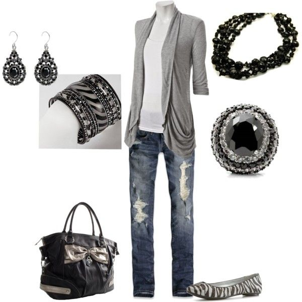 Outfit: Dreams Closet, Style Boards, Fashion Style, Stylewish Listdream, Gray Cardigans, Comfy Clothing, Color Shoes, Listdream Closet, Black