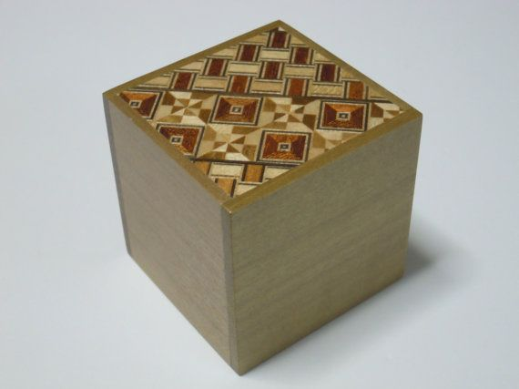 Japanese Puzzle box (Himitsu bako)- 2.2inch(56mm) Cube Open by 2steps Yosegi for Beginner