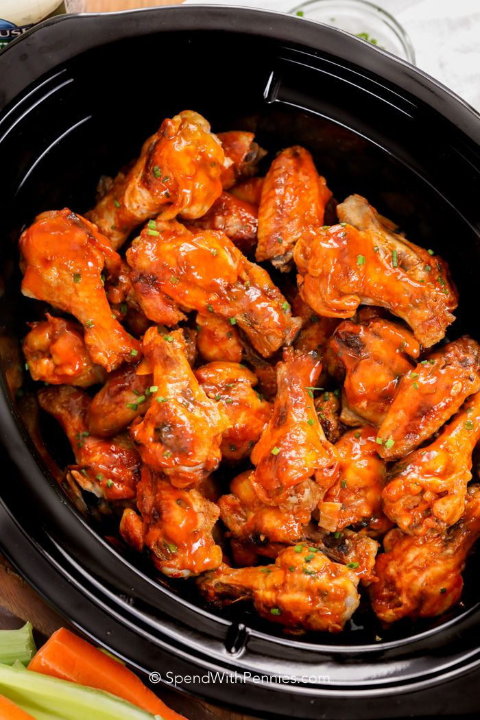 Crock Pot chicken wings eliminate the mess and oil of deep fried chicken wings while creating the perfect game day snack! These Buffalo wings come out perfectly tender, fall off the bone and are loaded with flavor!