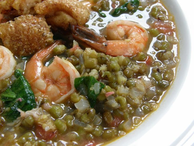 Ingredients: 1 cup whole monggo (mung) beans 5 tablespoons vegetable oil 7 cloves garlic, lightly mashed 2 medium-sized onions, chopped 3/4 lb red-ripe tom | Panlasang Pinoy Recipes
