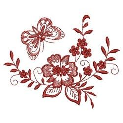 Ace Points Embroidery Design: Redwork Floral Butterfly 3.08 inches H x 3.80 inches W