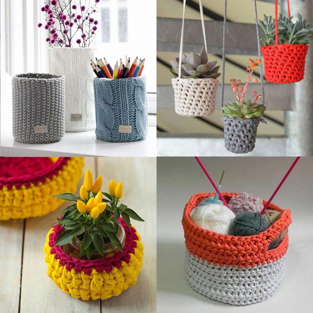 Vasos, cestas e Cachepôs - Tendência decoração tricô e crochê