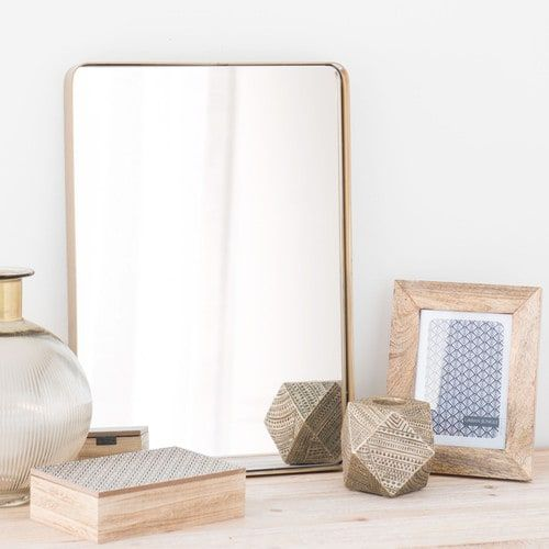 Miroir en métal doré H 50 cm FERAO