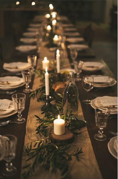 What's a holiday party without festive decorations? We suggest keeping it simple when decorating a dinner table so there's plenty of space for food.