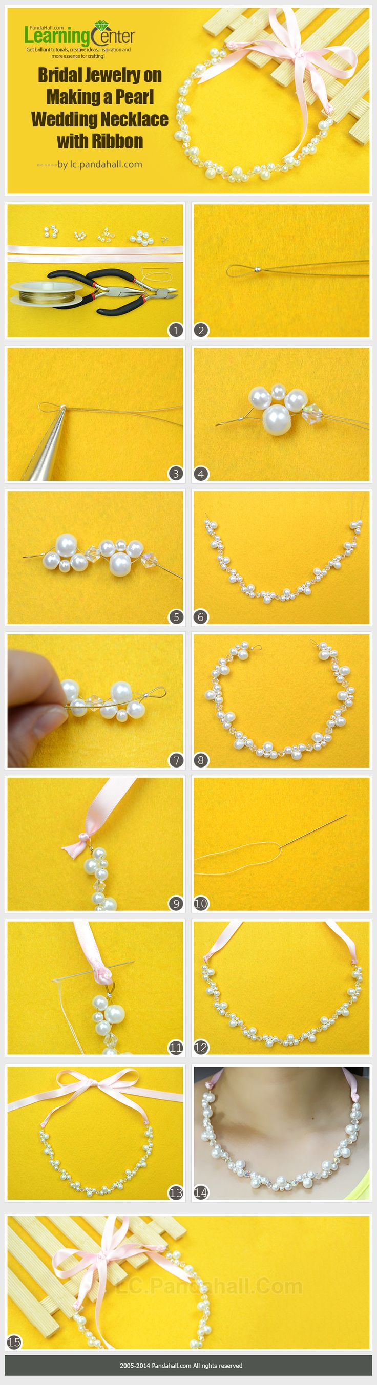 Bridal Jewelry on Making a Pearl Wedding Necklace with Ribbon