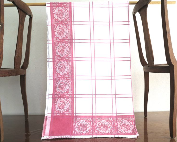 Large damask tablecloth, white with pink border of flowers and middle section of pink checks, 75 x 48 inches / 190 x 122 cm, mid century by CardCurios on Etsy