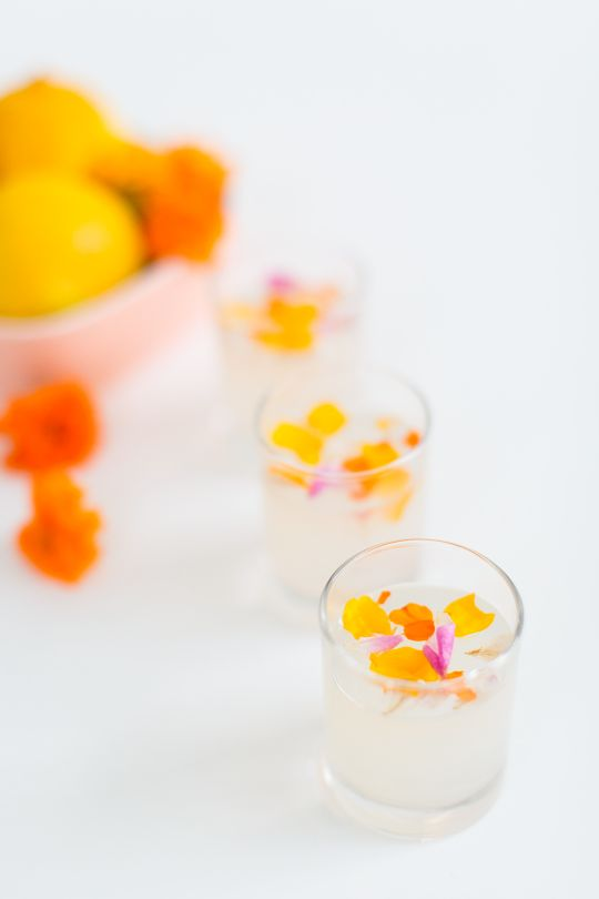 Reinventing the jello shot with this edible flower lemon jello shot recipe...