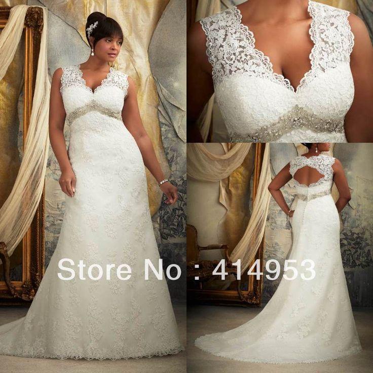 Fashion New Style 2013 Sexy v Neck Lace applique Beaded Court Train Bridal Elegant Plus Size Wedding Dress for Women