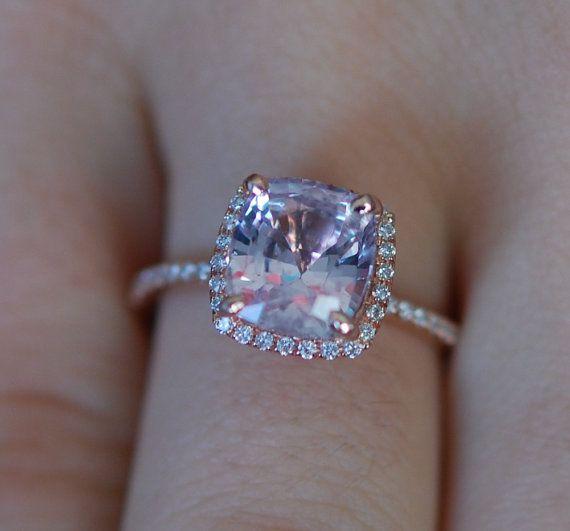 Ice Peach Sapphire Ring 14k Rose Gold Diamond Engagement Ring. 3.02ct Square Cushion Peach sapphire ring. Engagement rings by Eidelprecious