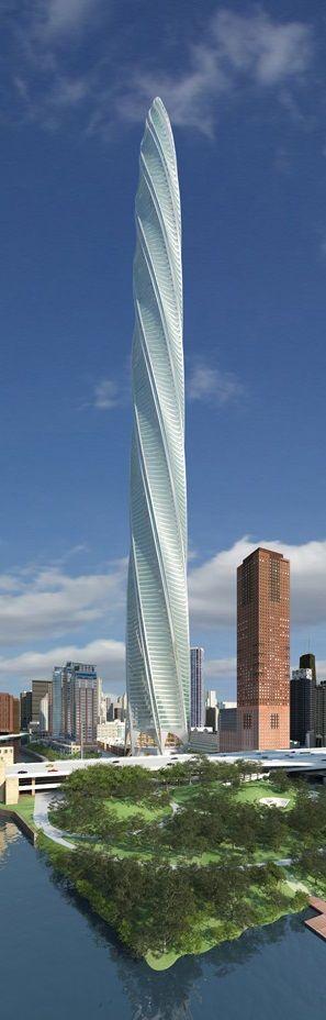 """""""Chicago Spire"""". Chicago, EE.UU. La estructura de este alto y retorcido rascacielos se beneficiará enormemente desde su diseño, porque los diseños curvos tienden a añadirle fuerza a la estructura, y además la cara curva del exterior reducirá al mínimo las fuerzas del viento. Cada uno de los 150 pisos se hará girar más de 2° del que queda debajo con una rotación total de 360°. . Arquitecto: Santiago Calatrava (España)."""