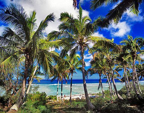 Cook Islands, Mangaia Island, island landscape.