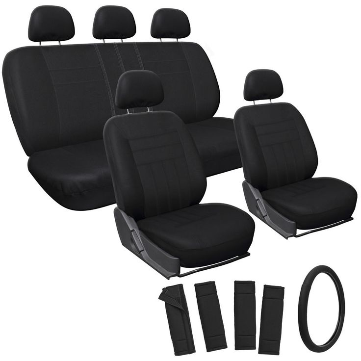 Car Seat Covers For Honda Civic Solid Black W Steering Wheel Belt Pad Head Rests