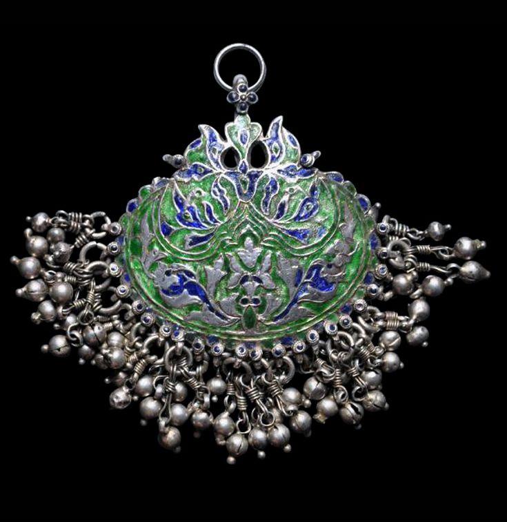 India | Enamelled silver forehead ornament ~ Chiri-Tikka ~ from Himachal Pradesh | 19th to early 20th century | POR