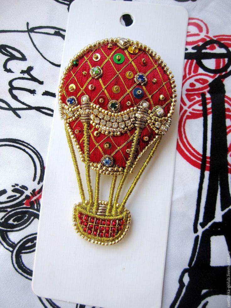 Fancy brooch air-balloon | Купить Вышитая брошь Воздушный шар - бордовый, красный, красно-золотой, золотой, винтаж